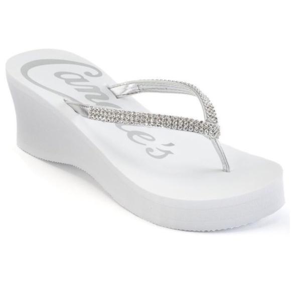 8bbbe10c4923af Candie s White Rhinestone Thong Wedge Sandals NWT
